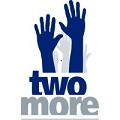 Two more hands logo, blue hands above words saying two more